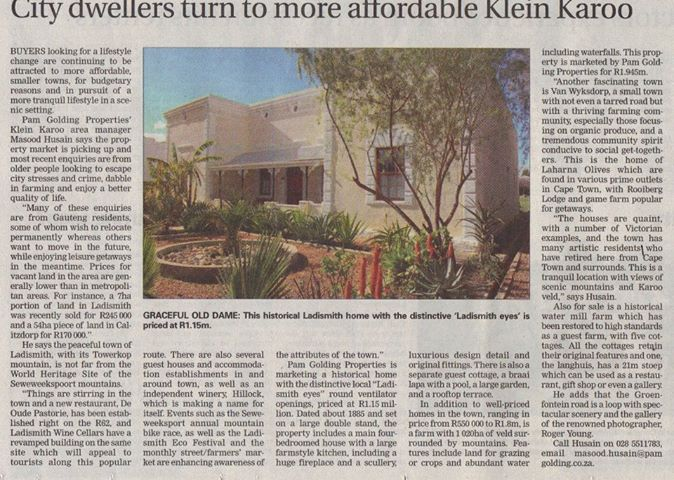 City dwellers turn to the more affordable Karoo